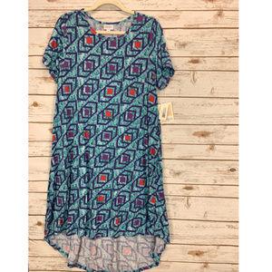 LuLaRoe Carly Dress Large Blue Multi NWT